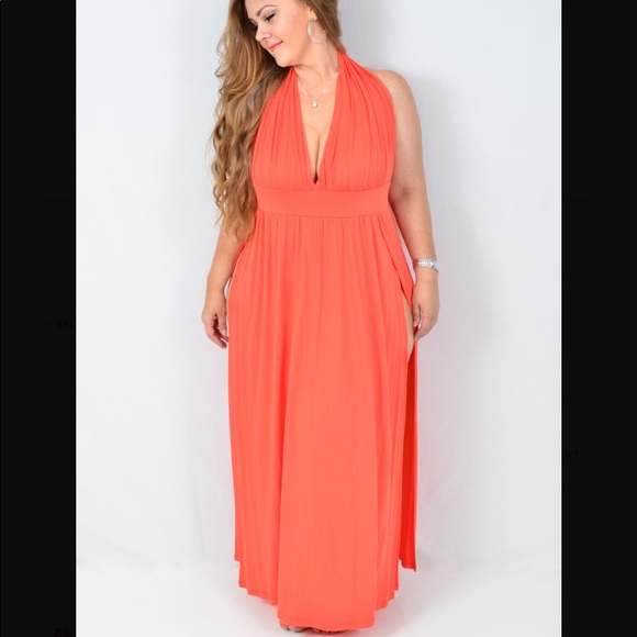 Plus size peach maxi dress